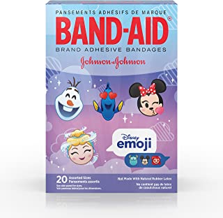 Band-Aid Brand Adhesive Bandages For Minor Cuts And Scrapes,  Featuring Disney Emoji Characters For Kids,  Assorted Sizes 20 Ct