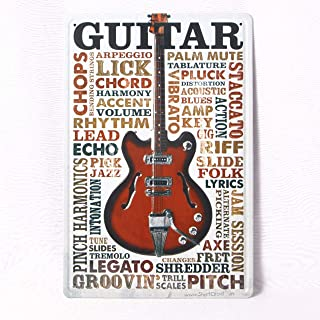 Guitar Short Circuit Metal Plate Plaque Wall Art in Vintage Style Sign Board