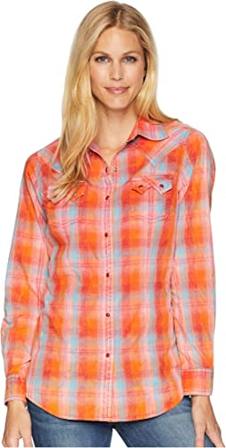 Long Sleeve Woven Plaid Sawtooth Pocket Snap