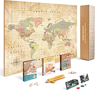 Push Pin Map Kit Includes: Cork World Travel Map, World Flags, Food Stickers, for Travelers (Old School, L (17.7 x 23.6 inches))