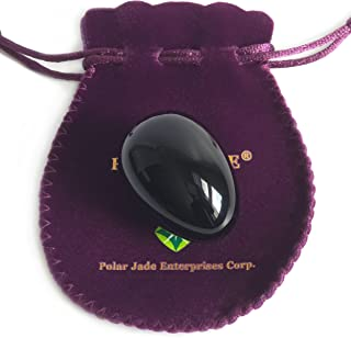 Yoni Egg, Undrilled, Made of Obsidian Gemstone (Kegel Jade Egg), Medium Size (43x30mm), with Certification of Authenticity and Jewelry Pouch, for Exercise or Decoration