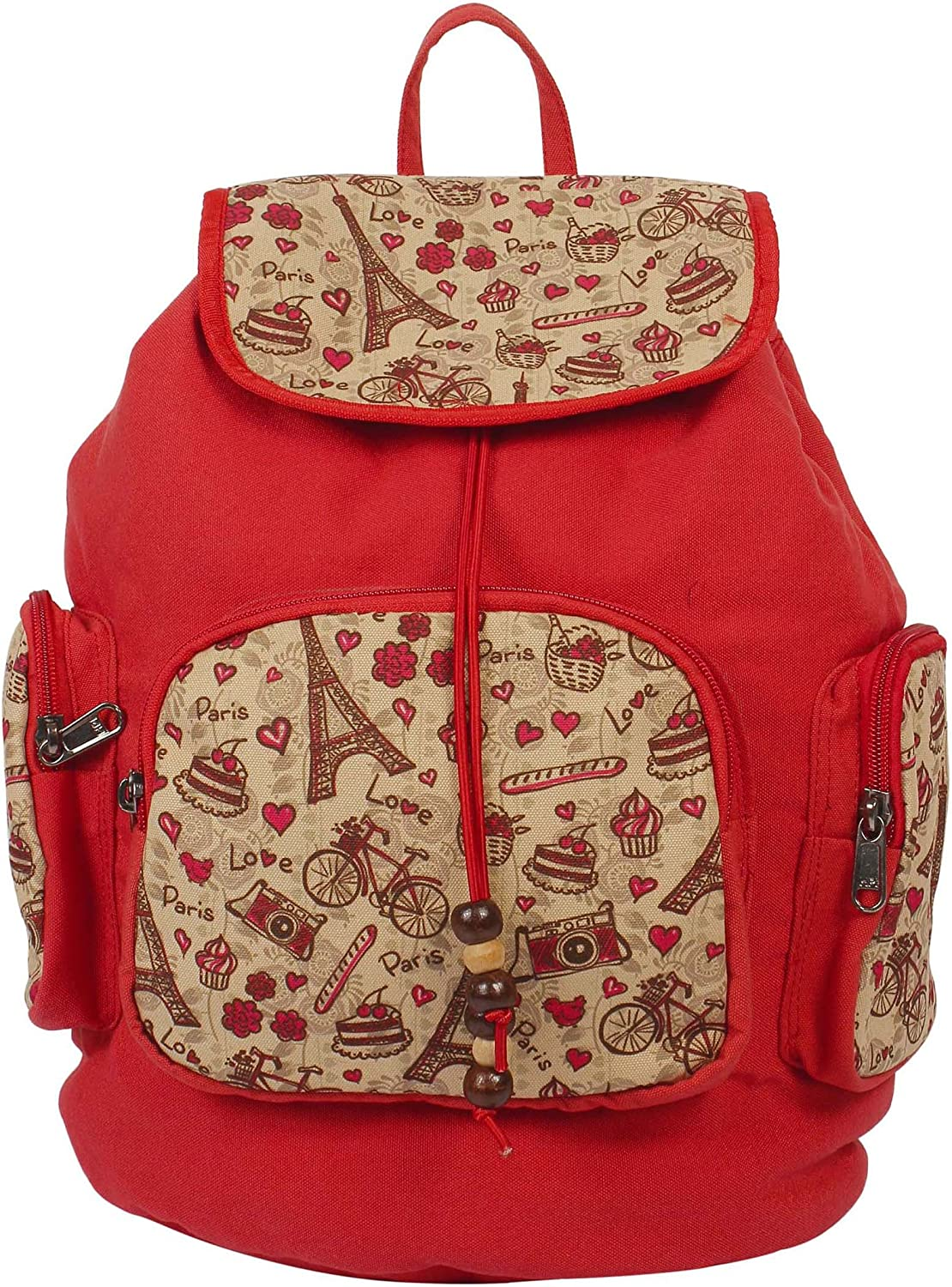 { Extra 10% Discount } Purse Collection Red Printed Backpack Bags with 3 Front Pockets for Women's