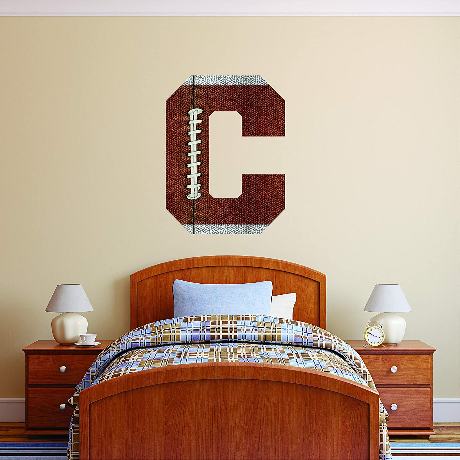Custom Max 61% OFF Name Initial Football New color Wall Decal Pers - Personalized Boys