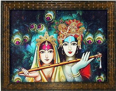 Indianara Radha Krishna Painting - Synthetic Wood, 27x30.5x1cm, Multicolour