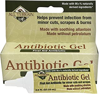 All Terrain Antibiotic Gel 0.5 oz Natural First Aid Gel with Bacitracin and Allantoin to Help Protect Minor Cuts and Wound...