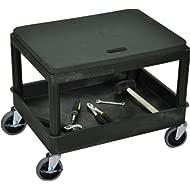 DMD Mechanics Seat with Tub Shelf, 4 inch Easy Rolling Wheels, Black
