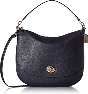 Womens Pebbled Turnlock Hobo