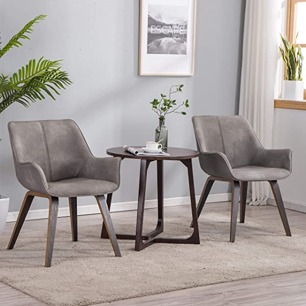 YEEFY Gray Leather Living Room Room Chairs With Arms Contemporary Living Room Chairs Set Of 2 Ashen