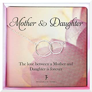 Mother Daughter Necklace | Mom Necklace for Daughter | Infinity Circle Necklace - Jewelry Gifts for Birthday or Mothers Day | Beautiful Gift Box Included!