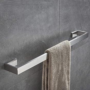 Wall Mounted Chrome Finish Bathroom Towel Single Bar Rail Rack Stainless Steel