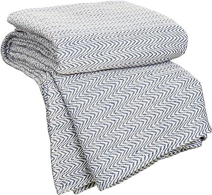 Lavish Home Chevron 100Percent Egyptian Cotton Blanket - King - Blue