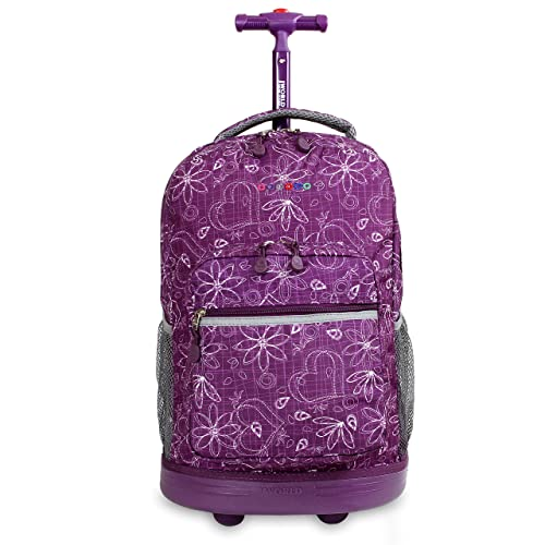 J World New York Sunrise Rolling Backpack, Love Purple, One Size