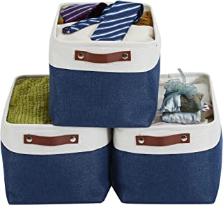 DECOMOMO Foldable Storage Bin [3-Pack] Collapsible Sturdy Cationic Fabric Storage Basket Cube W/Handles for Organizing Shelf Nursery Home Closet & Office (Navy Blue and White, Large - 15 x 11 x 9.5)