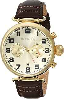 Invicta Men's Aviator Quartz Watch with Leather Calfskin Strap, Brown, 22 (Model: 22982
