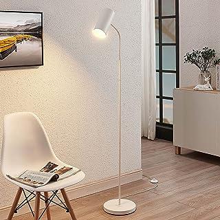 Lampadaire 'Karoli' (Moderne) en Blanc en Métal e. a. pour Salon & Salle à manger (1 lampe,à E27, A++) de Lindby | Lampada...