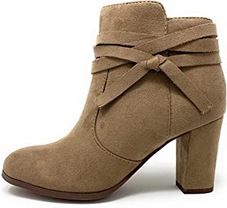 Delicious Center Womens Side Knot Strappy Zipper Ankle Bootie
