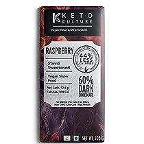 Keto Culture – Raspberry – Vegan Dark Chocolate (Pack of 1) – Sugar Free – Stevia Sweetened – Made with Organic Indian Cacao beans – 1 x 100 g Bars
