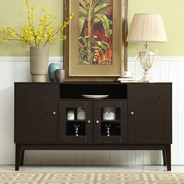 Mixcept 60 Modern Solid Wood Sideboard Buffet Table Storage Cabinet Tall Console Table With 4 Doors Espresso