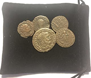 IT 5 Ancient Pre - Christian Roman Coins Comes in a Velvet Gift Bag AG-Good