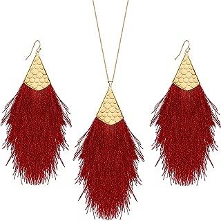Valentines Tassel Drop Jewelry Sets, Bohemian Silky Thread Fan Tassel Statement Drop Earrings Necklace - Feather Shape Strand Fringe Hook Dangles