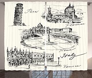 Ambesonne Sketchy Curtains, Travel The World Themed Historical Italian Landmarks Venice Rome Florence Pisa, Living Room Bedroom Window Drapes 2 Panel Set, 108