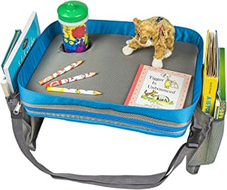Kids Travel Activity & Snack Tray by On The Go Families | Child & Toddler Car Seat Tray | Road Trip Essential Lap Desk for Carseat, Booster, Stroller, Airplane | Waterproof & Machine Washable (Blue)