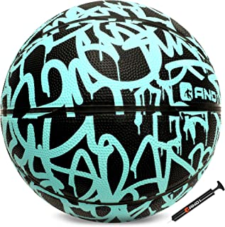 """AND1 Fantom Rubber Basketball & Pump (Graffiti Series)- Official Size 7 (29.5"""") Streetball, Made for Indoor and Outdoor Basketball Games"""