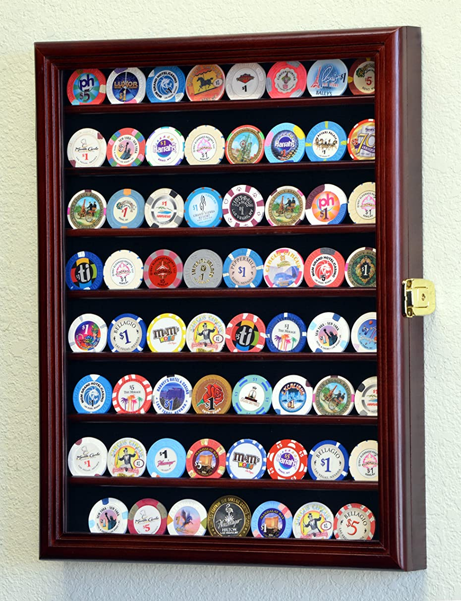 64 Casino Chip Coin Display Case Cabinet Chips Holder Wall Rack 98% UV Lockable -Cherry