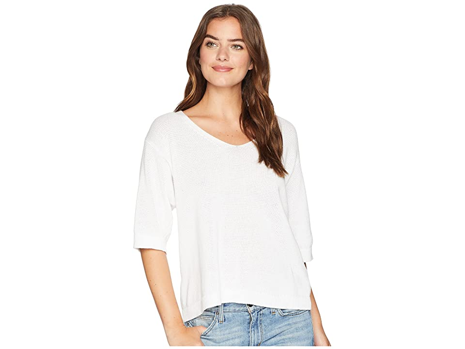 Michael Stars Cotton Knits Elbow Sleeve Sweater with Back Detail (White) Women