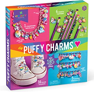 Craft-tastic – DIY Puffy Sticker Charms – Craft Kit Makes a Necklace, 5 Bracelets, 6 Pencil Toppers, and 16 Shoe Charms
