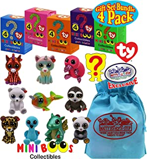 TY Mini Boos Hand Painted Collectible Figurines Series 4 Blind Box Gift Set Party Bundle with Bonus Matty's Toy Stop Storage Bag - 4 Pack (Asst.)