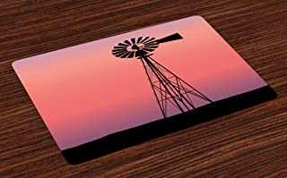 Ambesonne Windmill Place Mats Set of 4, Windmill Silhouette at Dreamlike Sunset Western Ranch Agriculture Theme, Washable Fabric Placemats for Dining Room Kitchen Table Decor, Black Coral