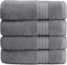 Lusuroi Bath Towels Set, Gray -Luxurious 100% Cotton-Highly Absorbent, Quick Dry, No Fading, Soft Feel Towels,Perfect for ...