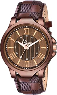 Alkh Attractive Brown Leather Strap and Dial Watch for Boy&Men's