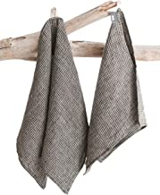Pure 100% Linen Hand Towels - Set of 2 - Black-Natural Linen Kitchen Towels Stone-Washed 14 x 30 inch Soft Lightweight Lin...