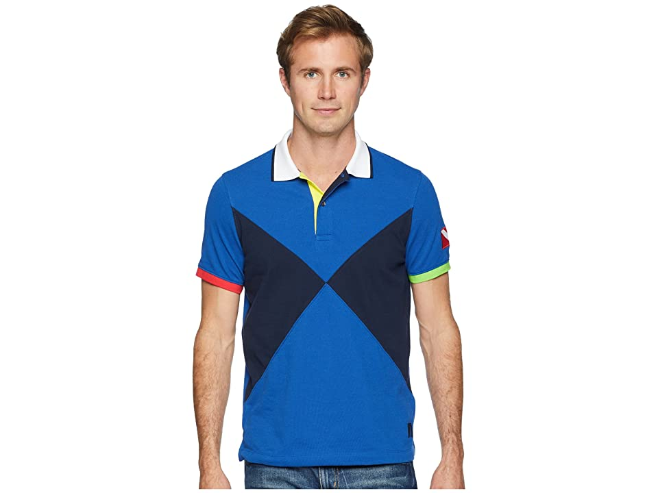 Nautica Short Sleeve Sail Flag Pieced Polo (Monaco Blue) Men