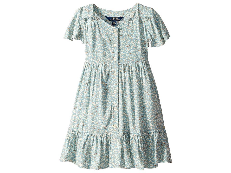 Polo Ralph Lauren Kids Shirred Floral Dress (Little Kids) (Blue Multi) Girl