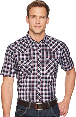 Retro Short Sleeve Two-Pocket Snap Plaid