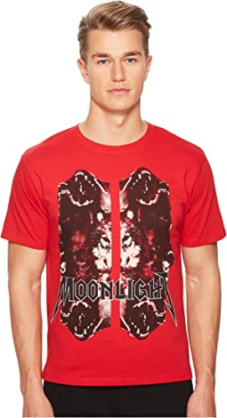 Red Moonlight T-shirt with Wolf Motif