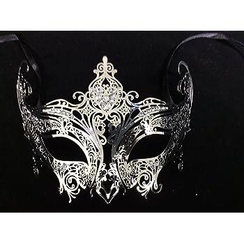 Venetian Silver metal mask Clear Diamonte Filigree Masquerade// Ball//Prom HR5