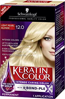 Schwarzkopf Keratin Color Anti-Age Hair Color Cream, 12.0 Light Pearl Blonde (Packaging May Vary)