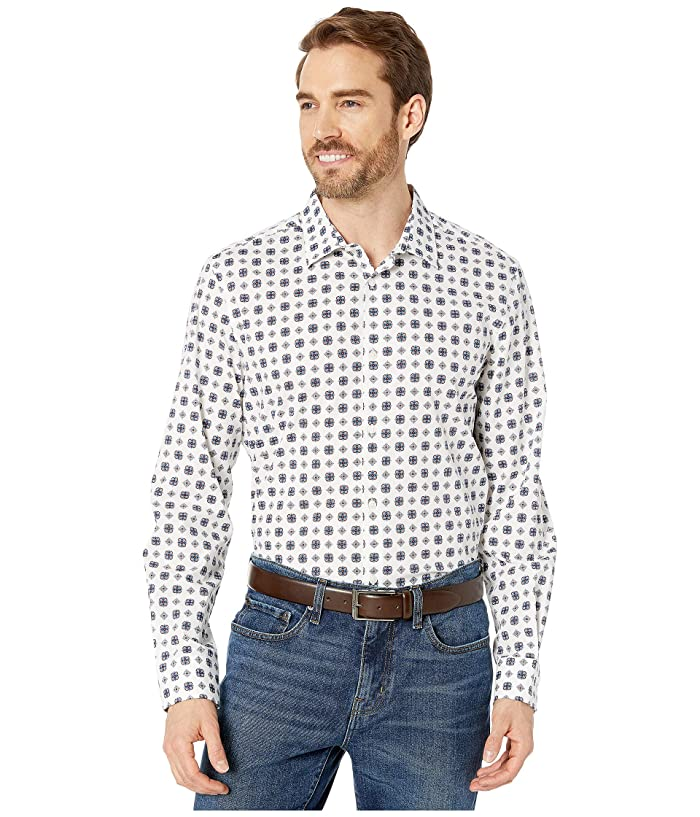 Perry Ellis  Slim Fit Medallion Print Stretch Long Sleeve Button-Down Shirt (Bright White) Mens Clothing