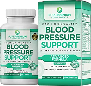 Premium Blood Pressure Support Supplement by PurePremium with Hawthorn & Hibiscus - Natural Anti-Hypertensi...