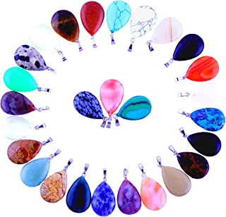 30pcs Water Drop Healing Crystal Quartz Stone Pendant Chakra Charm Beads Random Color Gems Gemstones for Necklace Jewelry Making