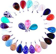 30pcs Water Drop Healing Crystal Quartz Stone Pendant Chakra Charm Beads Random Color Gems Gemstones for Necklace Jewelry Making