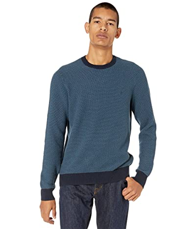 Original Penguin Tri-Tone Popcorn Crew Neck Sweater (Dark Sapphire) Men