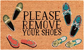 """Liora Manne NTR12222412 Natura Summer Coastal Please Remove Your Shoes Natural Outdoor Welcome Coir Door Mat, 1'6"""" x 2'6"""""""