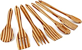 Relaxdays Kitchen Utensil Set Of 7: 6.5 x 31 cm Cooking Tools Made of Striped Bamboo, Hanging Utensils W/Wooden Spoon, Slotted Spatula, Sauce Spoon, Stirring Ladle, Spatula & Salad Servers, Brown