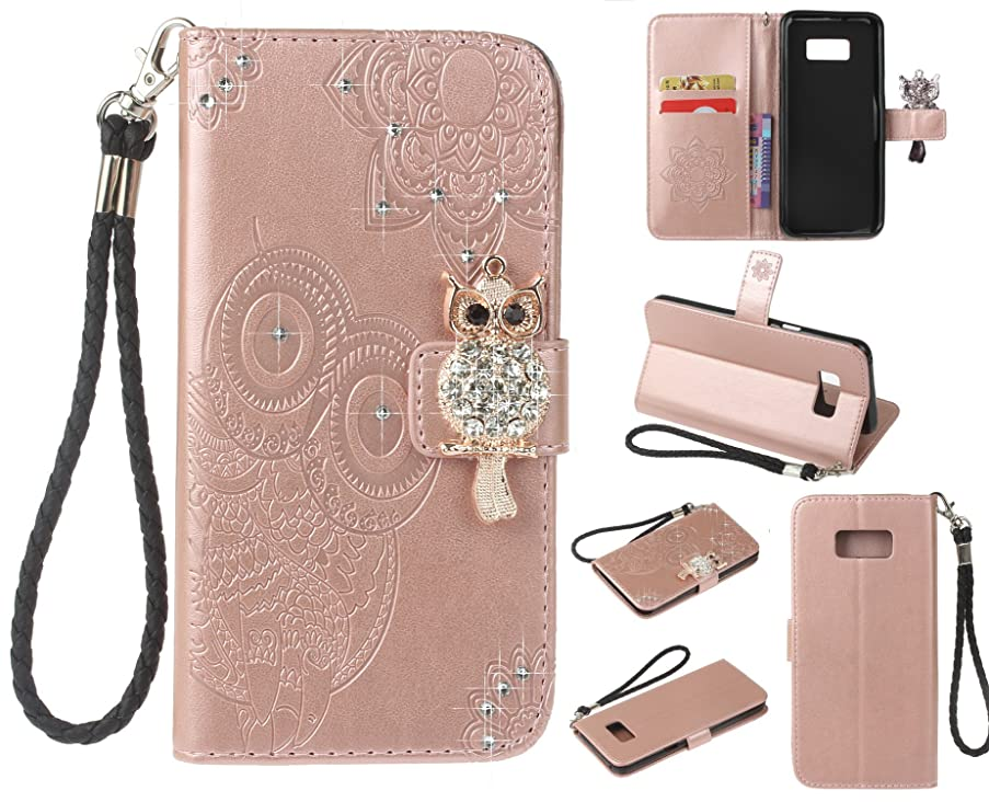 Anzeal Galaxy S8 Case,[Wallet Stand][Luxury Bling Rhinestone] PU Leather Owl Knurling Flip Protective Case with Card Slots & Wrist Strap for Samsung Galaxy S8 - Rose Gold