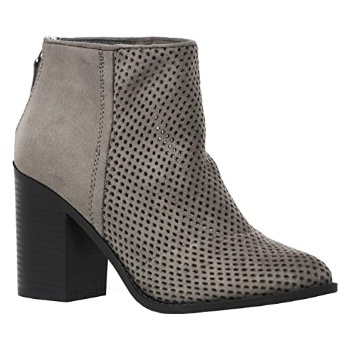 0889012f5e MVE Shoes Soda Womens Target Perforated Stacked Block Heel Ankle Bootie